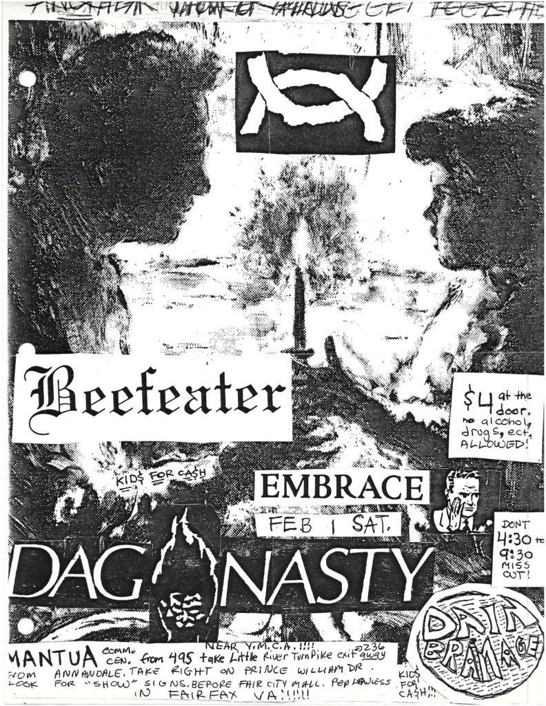 Beefeater, Embrace, Dag Nasty on February 1, 1986